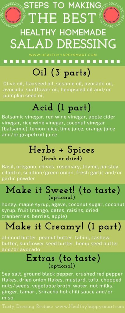 Click for recipe ideas! Healthy homemade salad dressing tips. Steps to the perfect healthy dressing you can make at home! Clean eating salad dressing. Eat clean.