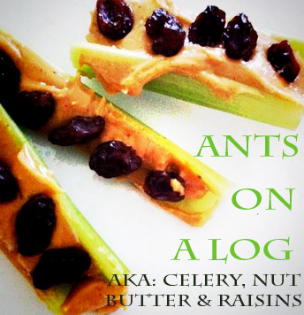 ants on a log - The best list of healthy snacks + more