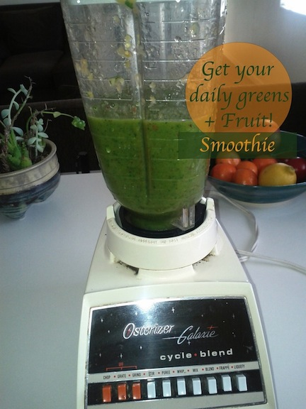 How to make a green smoothie. (my old hand me down blender that is now RIP)
