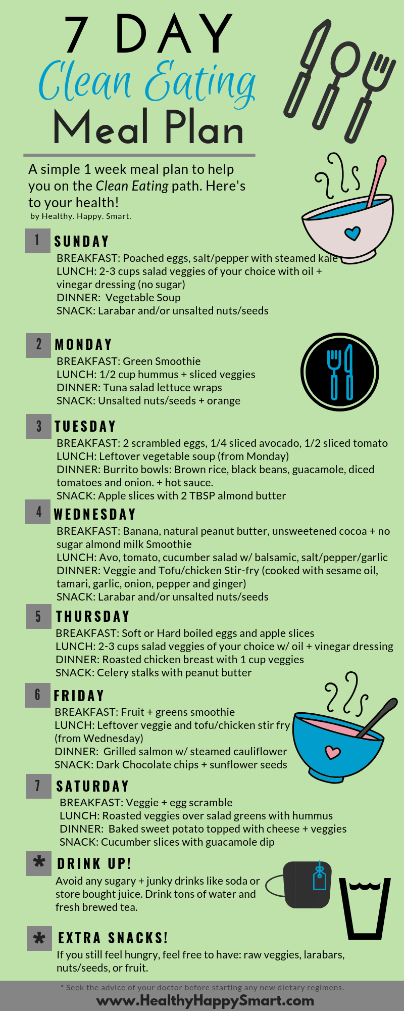 Clean Eating Meal Plan sample plan for beginners. Enjoy!