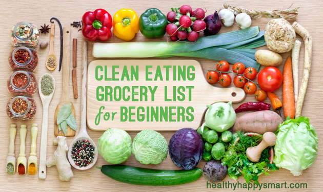 clean eating grocery and shopping list for beginners