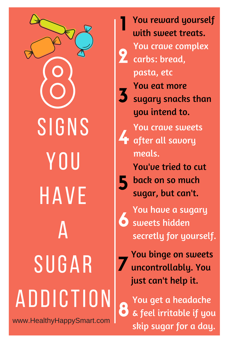 8 signs you have a sugar addiction ---- Start a Sugar free diet plan. No Sugar diet plan. 1 week sugar-free meal plan detox. Diet plan for anyone who has crazy sugar addiction or sugar cravings. or for anyone who wants to detox from a sugar binge.