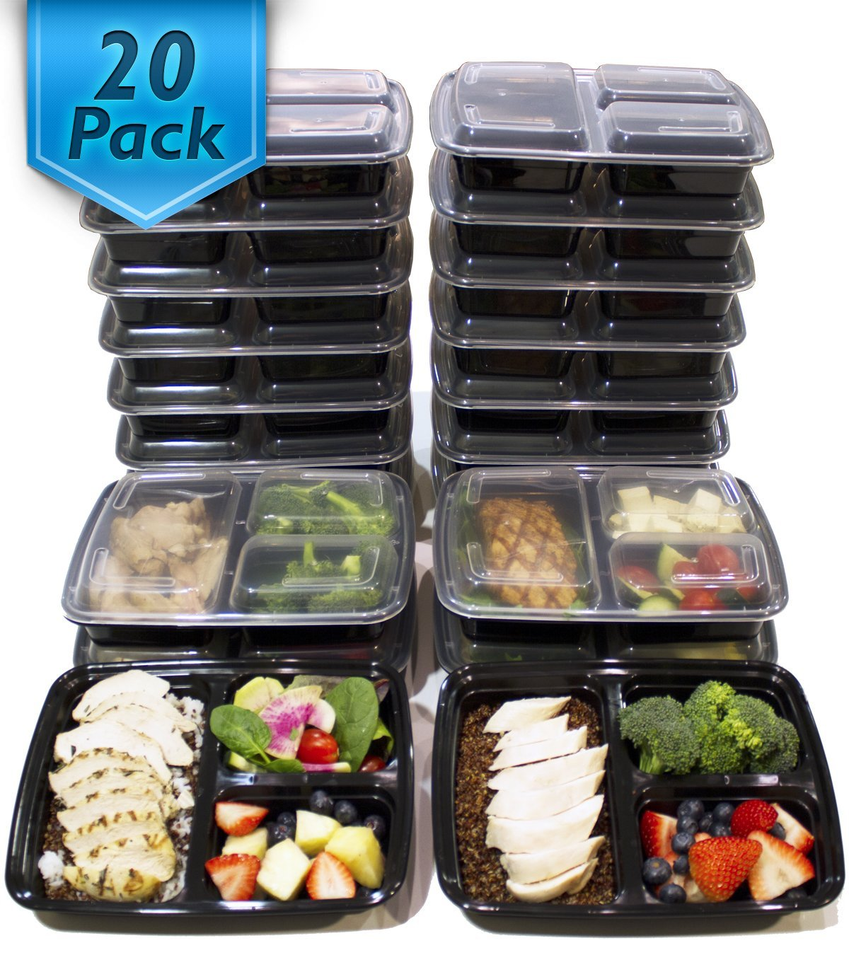 the best 3 compartment meal prep containers bento box healthy happy smart. Black Bedroom Furniture Sets. Home Design Ideas