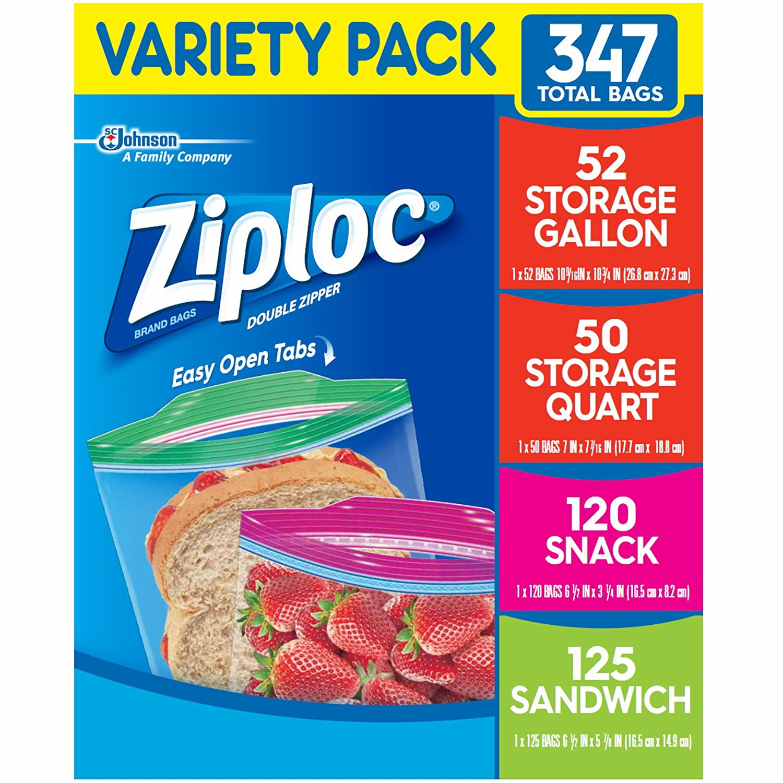 Ziploc Storage Bags Various Sizes 347 Ct 1 Pack